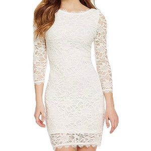A white lace cocktail dress.